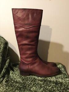 Luichiny Point Tea Burgundy Maroon Leather Tall High Zipper Flat Boots 10
