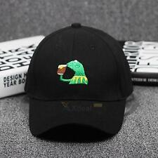 Mens Womens Frog Embroidery Baseball Cap Adjustable Strapback Trucker Hats Black