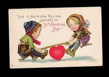 Valentine Postcard happy smiling children using heart teeter totter James Pitts