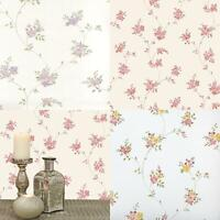 Floral Trail Wallpaper Flowers Pink Lilac Red White Beige Vintage Paste The Wall