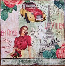 2 single paper napkins decoupage collection Paris Eiffel Tower Woman Auto Retro