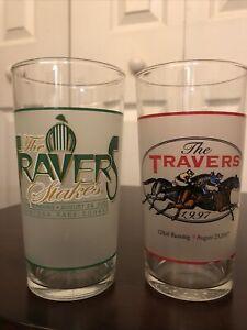 Vintage 1997 2002 Souvenir Drink Glasses Travers Stakes 128th 133rd Saratoga