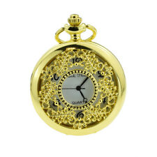 Gold Filigree Design Pocket Watch Comes Boxed with a Spare Battery - XCPW16