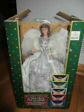 "Fiber Optic Angel 12"" Tree Top Tablepiece Porcelain Head & Hands Color Changing"