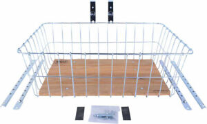 Wald 1392 Front Basket with Adjustable Legs, Wood Slats, Silver