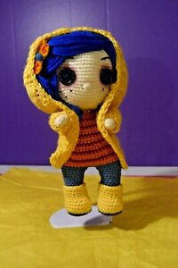HAND MADE CROCHET - CORALINE DOLL - POSABLE - with HOODIE - One Of A Kind