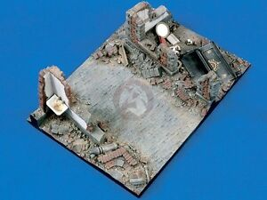 """Verlinden 1/35 """"Downtown"""" Street Section with Wall Ruins WWII Diorama Base 1348"""