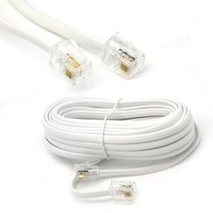 5M Metre RJ11 TO RJ11 Cable ADSL Broadband Modem Internet Lead Long White RJ-11