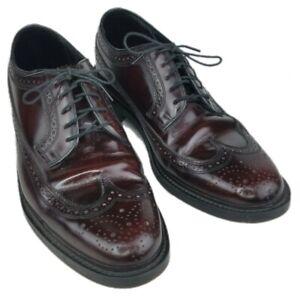 Mens Florsheim 76400 Burgundy Stratford Wing Tip Leather Shoes 8.5 3E Dress Shoe