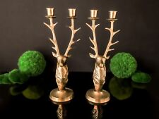 Brass Stag Candle Holders Deer Buck Head Large Candle Holders