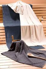 Saunatuch XXL Liegetuch Badetuch Querstreifen creme 75x200cm