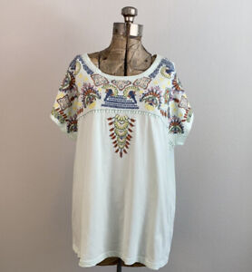 NWT Sundance Catalog Embroidered Short Sleeve Top Size L