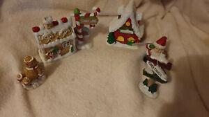 3 PIECE GINGER BREAD SET AND 3 PIECE SANTA WORKSHOP CHRISTMAS SCENE