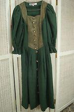 """ALPHORN Dirndl Tracht Dress S 34"""" Bust Linen Skirt Suede Bodice Horn Buttons"""