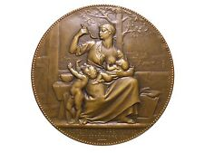 Art Nouveau Protection of Infants Mother Breastfeeding Bronze medal Chaplain M35