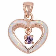 ROSE GOLD WHITE OPAL & AMETHYST HEART .925 Sterling Silver Pendant