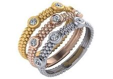 0.27 ct F Vs diamond beaded stackable wedding rings 14k white yellow rose gold