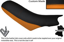 ORANGE & BLACK CUSTOM FITS KTM 640 LC4 01-04 DUAL LEATHER SEAT COVER