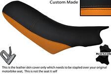 ORANGE & BLACK CUSTOM FITS KTM 640 LC4 01-04 DUAL LEATHER SEAT COVER