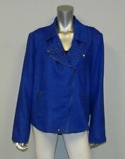 ELOQUII THE LIMITED NEW Blue Studded Linen Moto Jacket Blazer Plus sz 18W $139