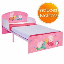 PEPPA PIG TODDLER BED STURDY STRONG JUNIOR BEDROOM + FULLY SPRUNG MATTRESS