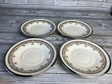 LENOX China LACE POINT Pattern Platinum Trim  Saucers Dishes Plates - Set/4 USA