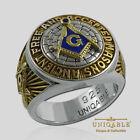 A.F.A.M Masonic Sterling Silver 925 Mason Ring 18K Gold plt Freemason UNIQABLE