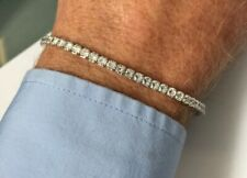 """Silver Women's Tennis Style CZ Stone Bracelet Weight 5.6g Length 7.5"""" Stamped"""