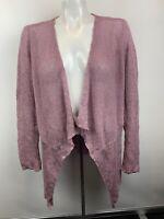 Eileen Fisher Sz M Purple Cascading Front Cardigan Loose Knit Sweater Linen