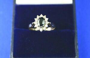 Vintage 375 9CT Gold Sapphire & Cubic Zirconia Ladies Cluster Ring C1984 UK L1/2