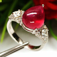 NATURAL 9 X 11 mm. PEAR CABOCHON RED RUBY & WHITE CZ RING 925 STERLING SILVER