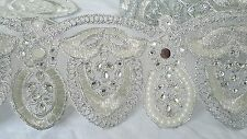 9cm- 1 meter Beautiful silver pearls and beaded lace trim edging for crafts deco