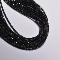 3mm 14 Inch Strand Black Spinel 3mm Micro Faceted Rondelles