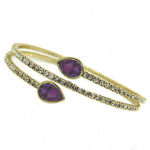 Crystal Amethyst Twisty Drop Bangle Bracelet made with SWAROVSKI Crystals®