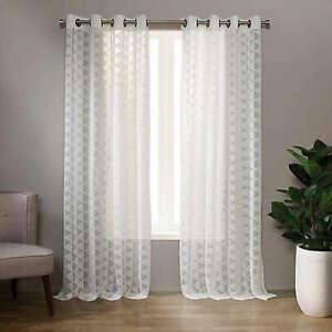 "Landon 95"" Grommet Sheer Triangle Window Curtain Panel  -  SET OF 2"