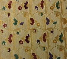 """CLARENCE HOUSE ABSTRACT FLORAL BEIGE MODERN LINEN VELVET FABRIC BY THE YARD 50""""W"""