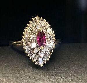 Estate 14k Yellow Gold Ruby Diamond Halo Ballerina Cluster Ring
