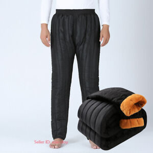 Mens Winter Thick Warm Fleece Lined Pants Quilted Casual Long Trousers XL-4XL