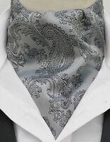 Mens Silver & Black Paisley Silk Satin Ascot Cravat & Handkerchief - Made in UK