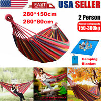 Comfort Double Person Camping Hanging Hammock Travel Outdoor Sleeping Swing Bed