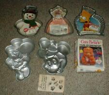 Lot-6 Vintage WILTON Cake PANS Bart Simpson-Barbie-Smurf-Care Bear-Mickey Mouse
