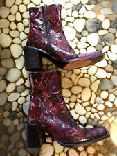 """""""SACHA"""" BURGUNDY LEATHER BOOTS, size 40, talons/heels 8 cm, made in Italy"""