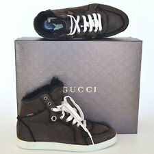 GUCCI New Mens High Top Sneakers sz 8 G - US 8.5 Web Logo Brown Shearling Shoes