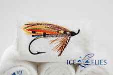 ICE FLIES. 4x White bath towel with Embroidered fishing pictures