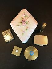 New listing Lot of Vtg Goldtone Cosmetic Items + Tilso 53/139 Porcelain Covered Dish '40-'60