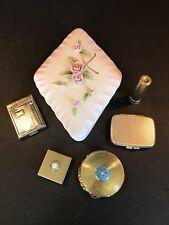 Lot of VTG Goldtone Cosmetic Items + Tilso 53/139 Porcelain Covered Dish '40-'60