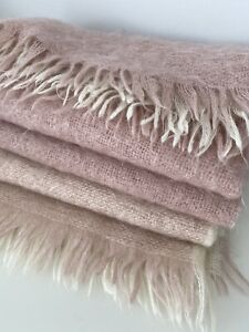 Laura Ashley Mohair Pink Hues Fringed Throw 160x140