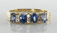 DIVINE 9K 9CT GOLD CEYLON SAPPHIRE & DIAMOND ETERNITY ART DECO INS RING FREE Sz