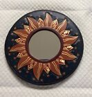"""BALI GOLDEN FLAMES MIRROR 8"""" Hand Carved & Painted NEW!"""