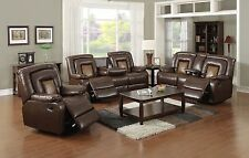 Bonded Leather Two-tone Brown Reclining sofa set w/central console & drop table